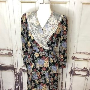 Vintage CHAUS floral lace buttons prairie dress